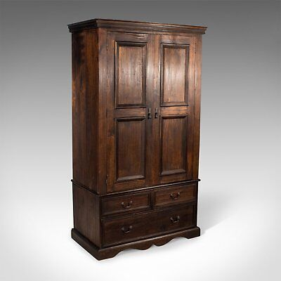 Dark Stained Mahogany Wardrobe, Late 20th Century