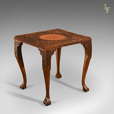 Antique Indian Tea Table, Victorian Carved, Square, Coffee, Side, Display c.1900