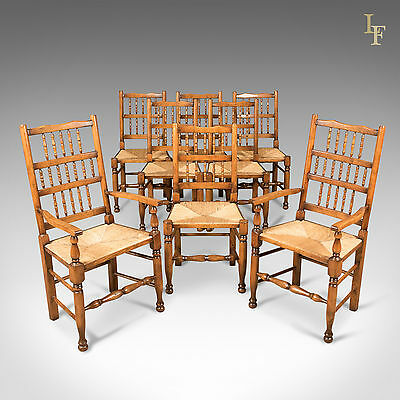 Set of 8 Dining Chairs, Lancashire Spindleback, Late C20th, English, Quality