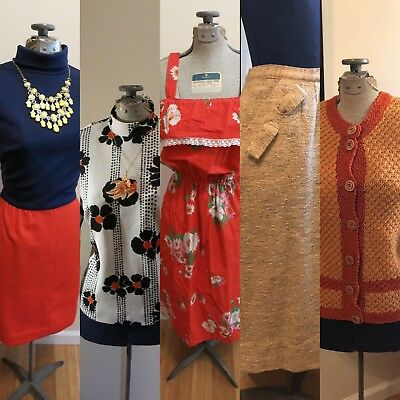 Vintage clothing lot 40s 50s 60s dress dresses skirt cardigan sweater pinup S M