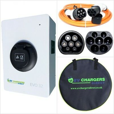 Electric Car EV Charge Point and Type 2 Cable COMBO PACKAGE, 7kw 32a Charger