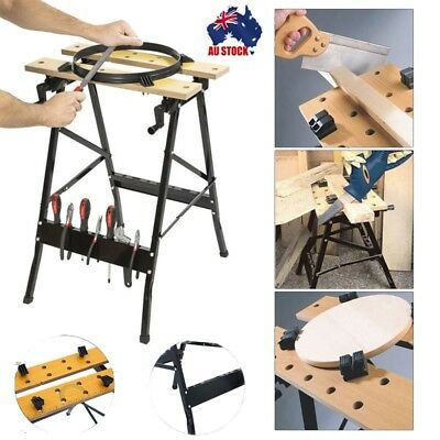 AU Foldable Workbench Saw Horse Trestle Work Bench Stand MDF Adjustable Angle