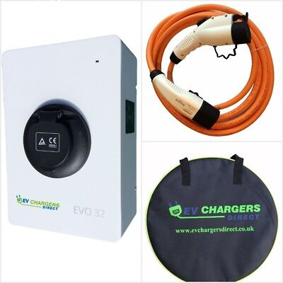 Electric Car EV Charge Point and Type 1 Cable COMBO PACKAGE, 7kw 32a Charger