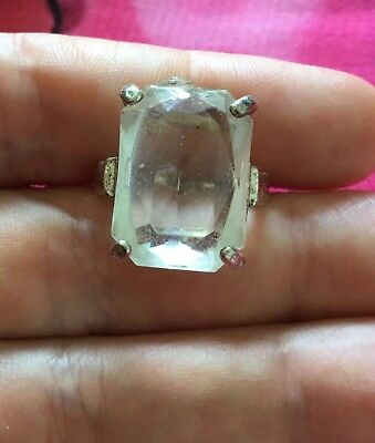 Vintage Antique Silver Clear Glass Crystal Stone Ring Size 5 Deceased Estate Vtg