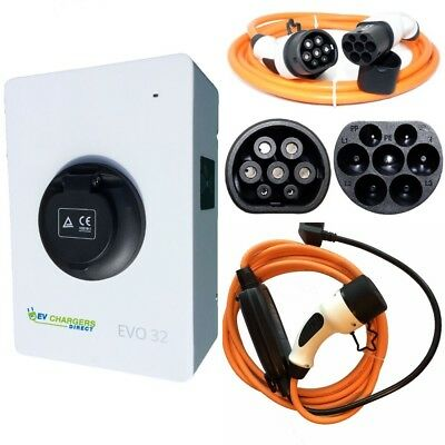 Electric Car EV Charge Point and Two Type 2 Cables COMPLETE PACKAGE, 7kw 32a
