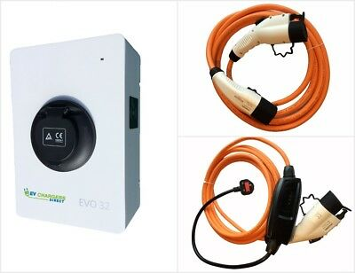 Electric Car EV Charge Point and Two Type 1 Cables COMPLETE PACKAGE, 7kw 32a