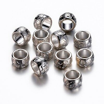 20PCS Rondelle Tibetan Style Beads Nickel Free Large Hole Beads Silver 13x8mm