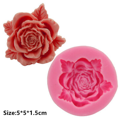2 Pcs Packed Blooming Rose Silicone Cake Mould Fondant Chocolate Decorating Mold