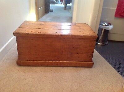 Victorian Pine Blanket Chest, Antique Storage Box Trunk, Old Country Furniture