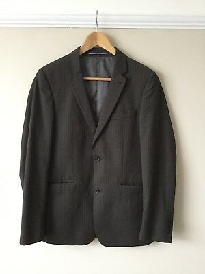 Great Mens Topman Suit - Chest 36R - Trousers 30s - Brown Pinstripe - Used