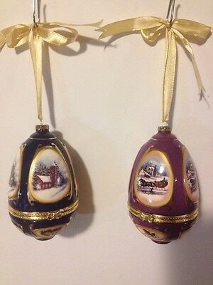 Valerie Parr Hill  Mr Christmas Music Box Egg Ornaments Lot of 2