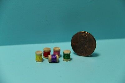 Dollhouse Miniature Sewing Spools of Thread - Set of 5 ~ IM65443