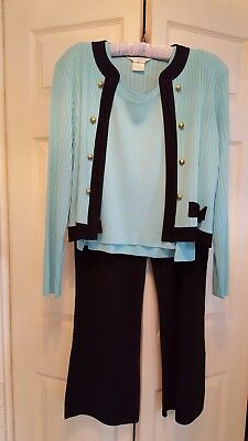 PETITE MISOOK AQUA JACKET & TOP XL  and  BLACK TROUSERS L    3 PCS.