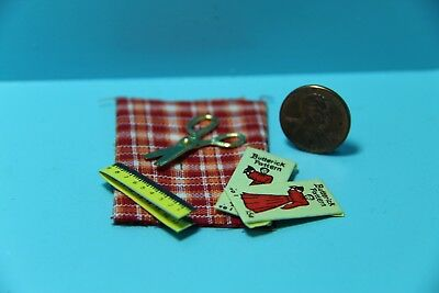 Dollhouse Miniature Sewing Set Red Fabric, Scissors, Patterns & Tape Measure