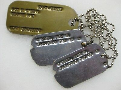 3 Wwii Us Army Dog Tags Set With One Large Id Tag From Wisconsin  O'neil Name