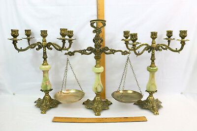 Antique Ornate Pair 5-CANDLE CANDELABRA & Scales~3pc Set~Cast Brass & Alabaster
