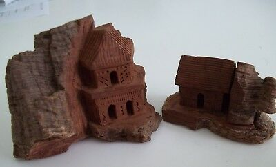 (2) Small Vintage Hand-Carved Wood Bark Houses Made in Mexico