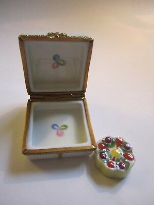 Signed LIMOGES France Peint Main CAKE BOX W/CAKE Hinged Trinket Box