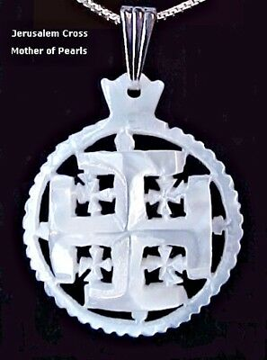 Jerusalem Cross Mother Of Pearl Pendant Necklace from Bethlehem The Holy Land