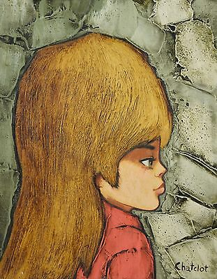 Mid-Century Modern Oil Painting Profile Portrait of Girl w Big Hair by Chatclot