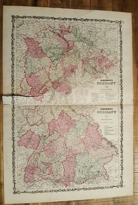 Antique Colored MAP OF GERMANY (Map #2 & #3) - Johnson's Atlas 1863