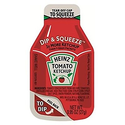 Heinz Tomato Ketchup, 0.95-Ounce Dippers, Single Serve Dip & Squeeze (Pack of...