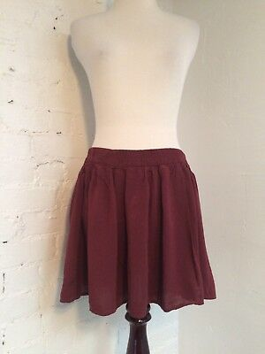 3ee8a9583 Brandy Melville Rayon Pleated Gathered Skater Mini Skirt Burgundy One Size
