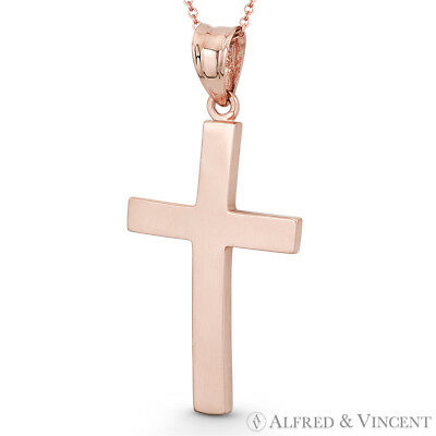 Latin Crucifix Catholic Curved Cross Charm Solid 14k Rose Gold 33mmx16mm Pendant