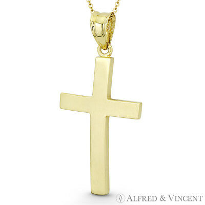Latin Crucifix Catholic Curved Cross Charm Solid 14k Yellow Gold 33x16mm Pendant