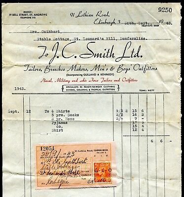 'J. C. Smith' Edinburgh 1943 invoice and  receipt with tax stamp