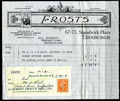 'Robert Frost & Sons' Edinburgh 1942 invoice and receipt with tax stamp