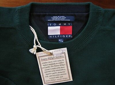 Vintage Tommy Hilfiger Mid Weight Green Pullover 100% Cotton New - Men's Large