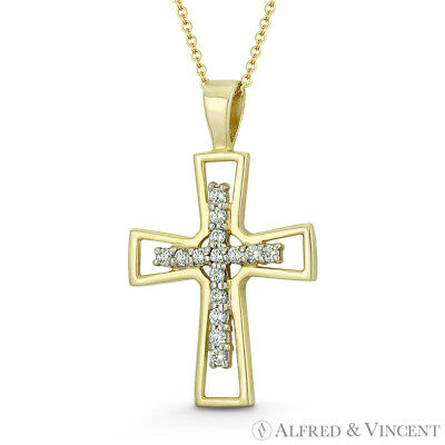 Pattée Formée & CZ Crystal Latin Cross 14k Yellow Gold 23x14mm Christian Pendant
