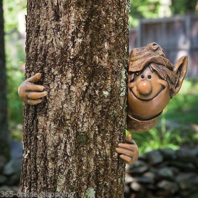 Novelty Garden Elf Tree Peeker Garden Ornament Funny Face Decoration Garden Shed