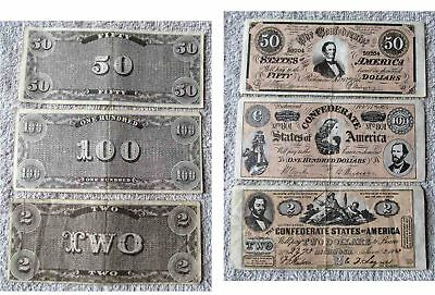 A&bc American Civil War  Banknotes From 1965 Cards Issue