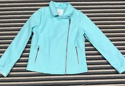 childrens Place Girls Faux Leather Moto Jacket Aqua Blue Large 10-12