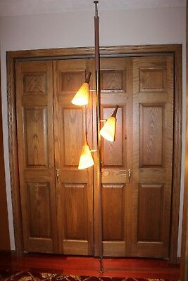 Vintage Mid Century Danish Modern Teak Wood Tension Spring Pole Lamp - Working