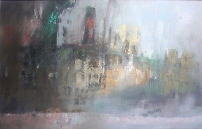 Mid Century Modern Abstract Expressionist Oil Painting-Cityscape/Industrial