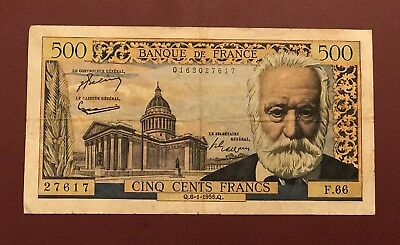 French France Victor Hugo 500 Franc Franc 1958 Rare Date Collection