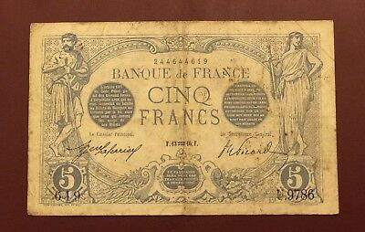 France French 5 Francs Bleu 12 1916  A9784 Rare Over 100 Years Old