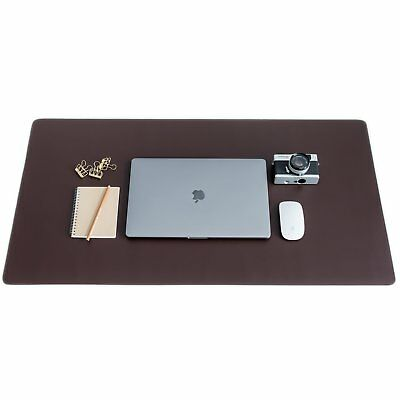 ZBRANDS // Brown Leather Smooth Desk Mat Pad Blotter Protector, Extended