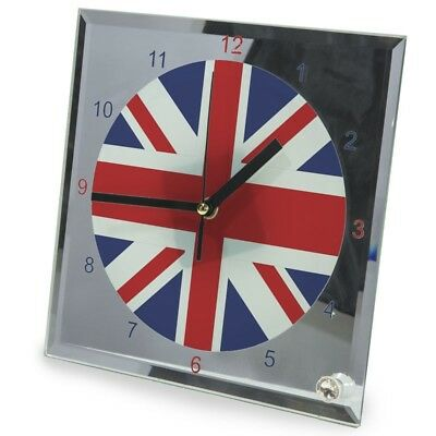 Union Flag glass clock with stand