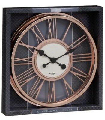 Copper Rose Gold Bronze Skeleton Roman Numeral Wall Clock New