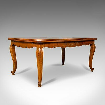 Antique Dining Table, French, Extending, Draw Leaf, Oak Parquet, Seats Ten c1910