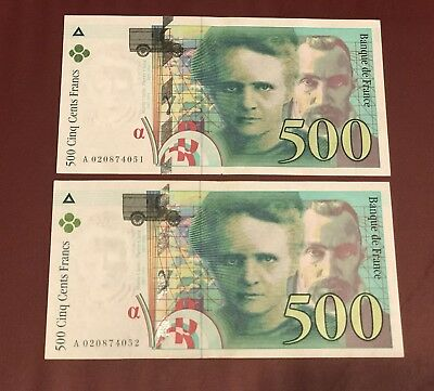 France French Running Pair 500 Francs Marie Pierre Currie Aunc 1994 Unc Prefix A