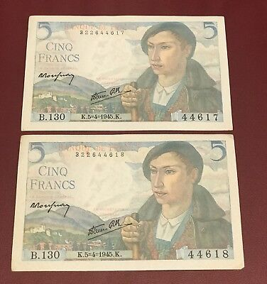 France French Running Pair 5 Francs  Bank Notes 1945 Aunc Rare Date