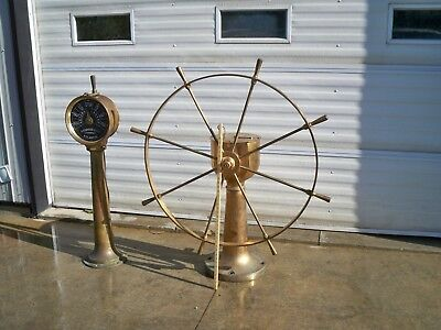 VINTAGE CENTURY OLD  BRASS  STEERING STATION from GREAT LAKES