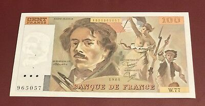 France French One Bank Note Of 100 Francs Eugene Delacroix 1984 Pre Euro Unc
