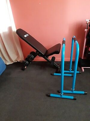 Pro Fitness bench, weights and parallel bars