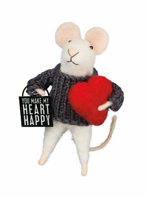 Valentine Mouse Ornament You Make My Heart Happy
